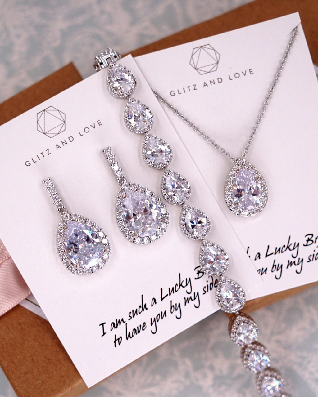 Silver Cubic Zirconia Jewelry set, earrings, bracelet, necklace, for brides, bridesmaids, bridal shower gifts, wedding parties, mother
