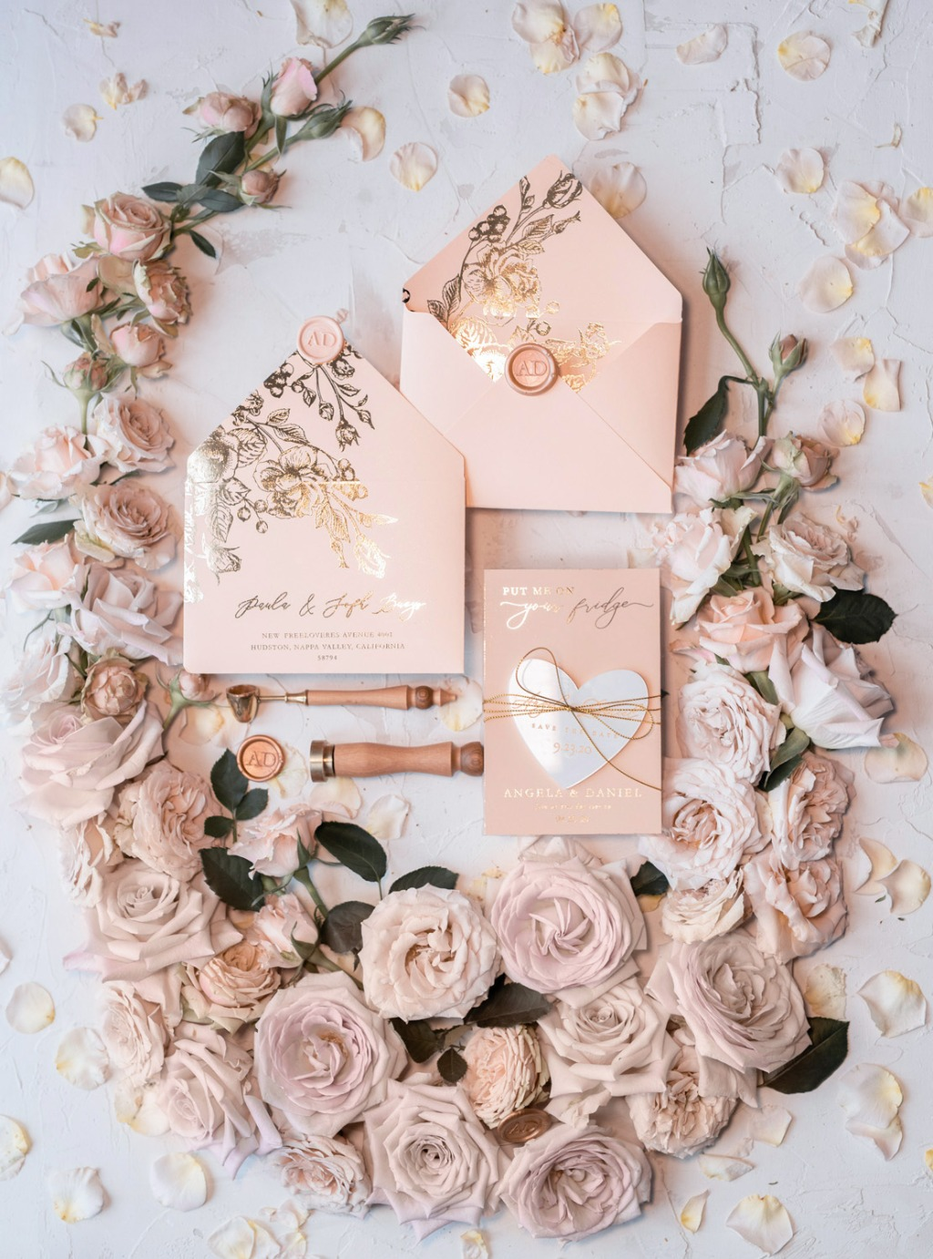 Save the date - peach and gold