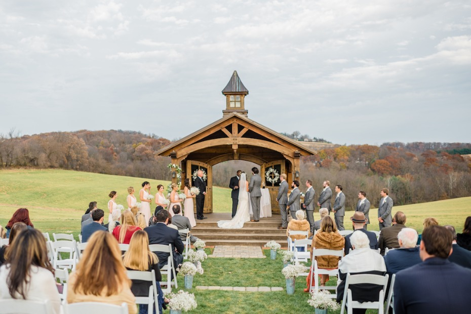 Outdoor ceremony at Wyndridge Farm wedding in DC