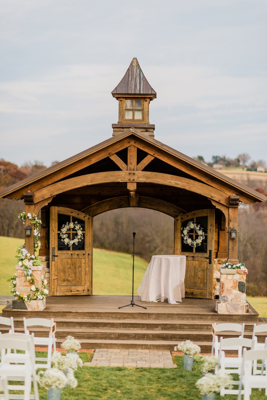 Rustic outdoor ceremony at Wyndridge Farm wedding in DC