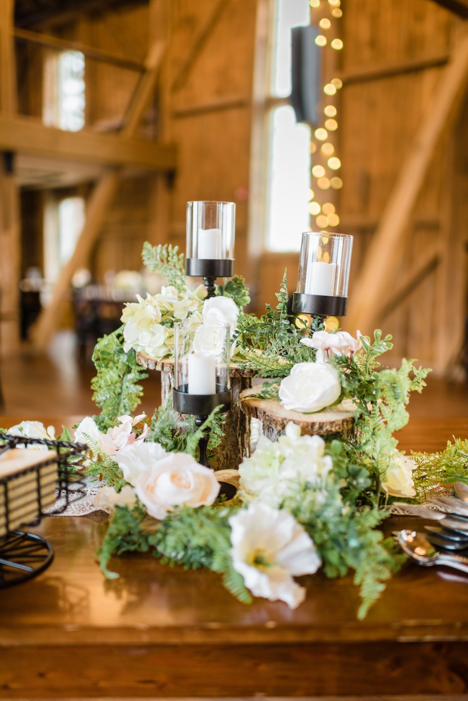 Reception florals and candle decor