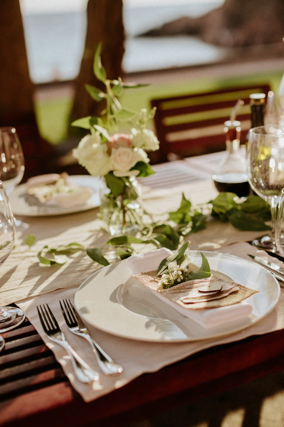 outdoor summer wedding reception place setting