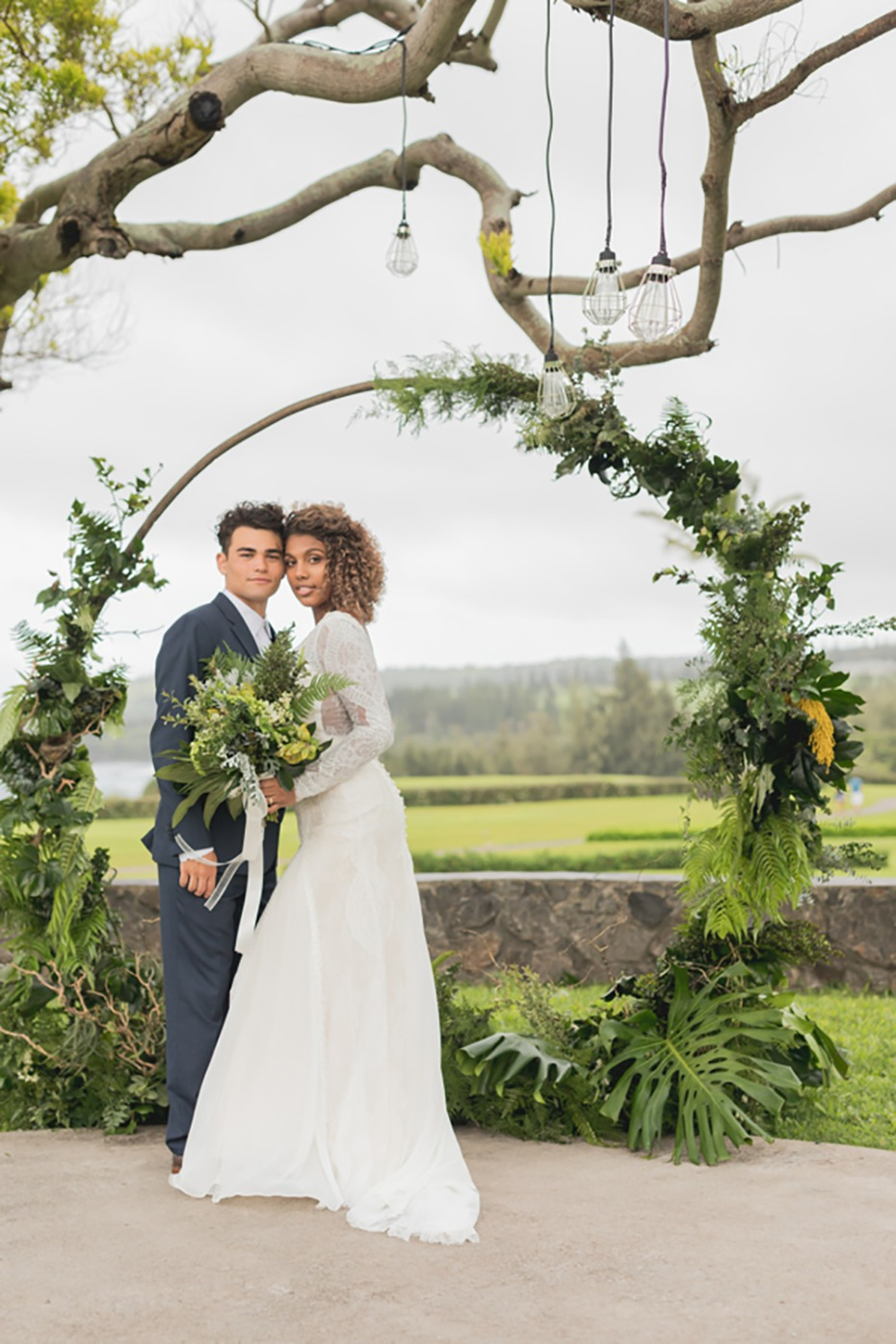 modern tropical wedding ceremony outdoors