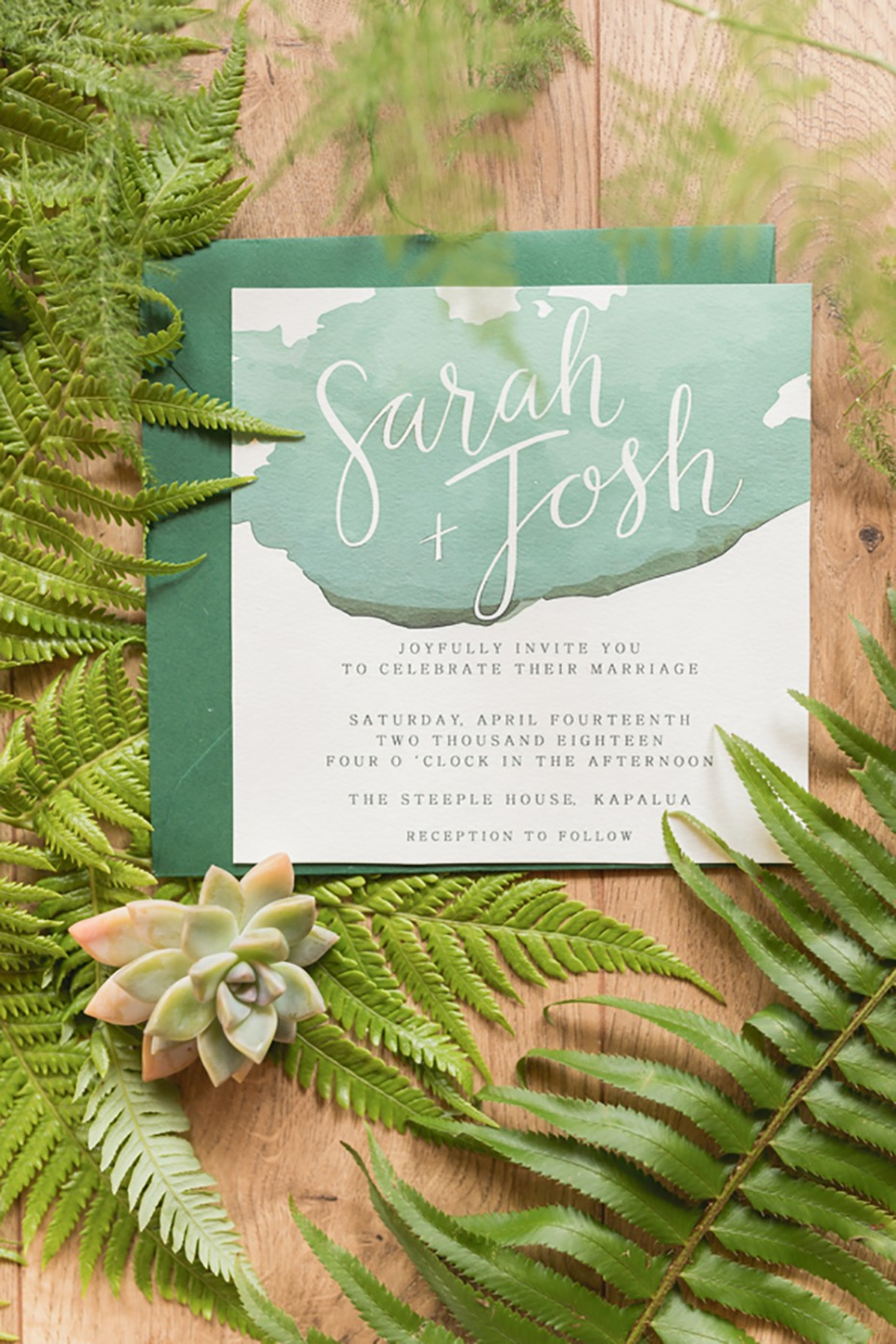 green watercolor wedding invitation
