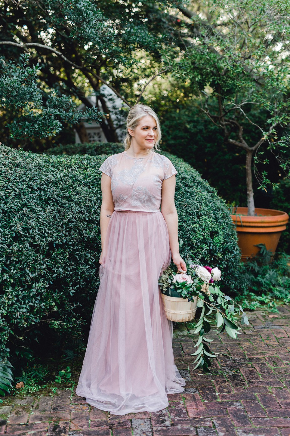 Cute blush bridesmaid dress