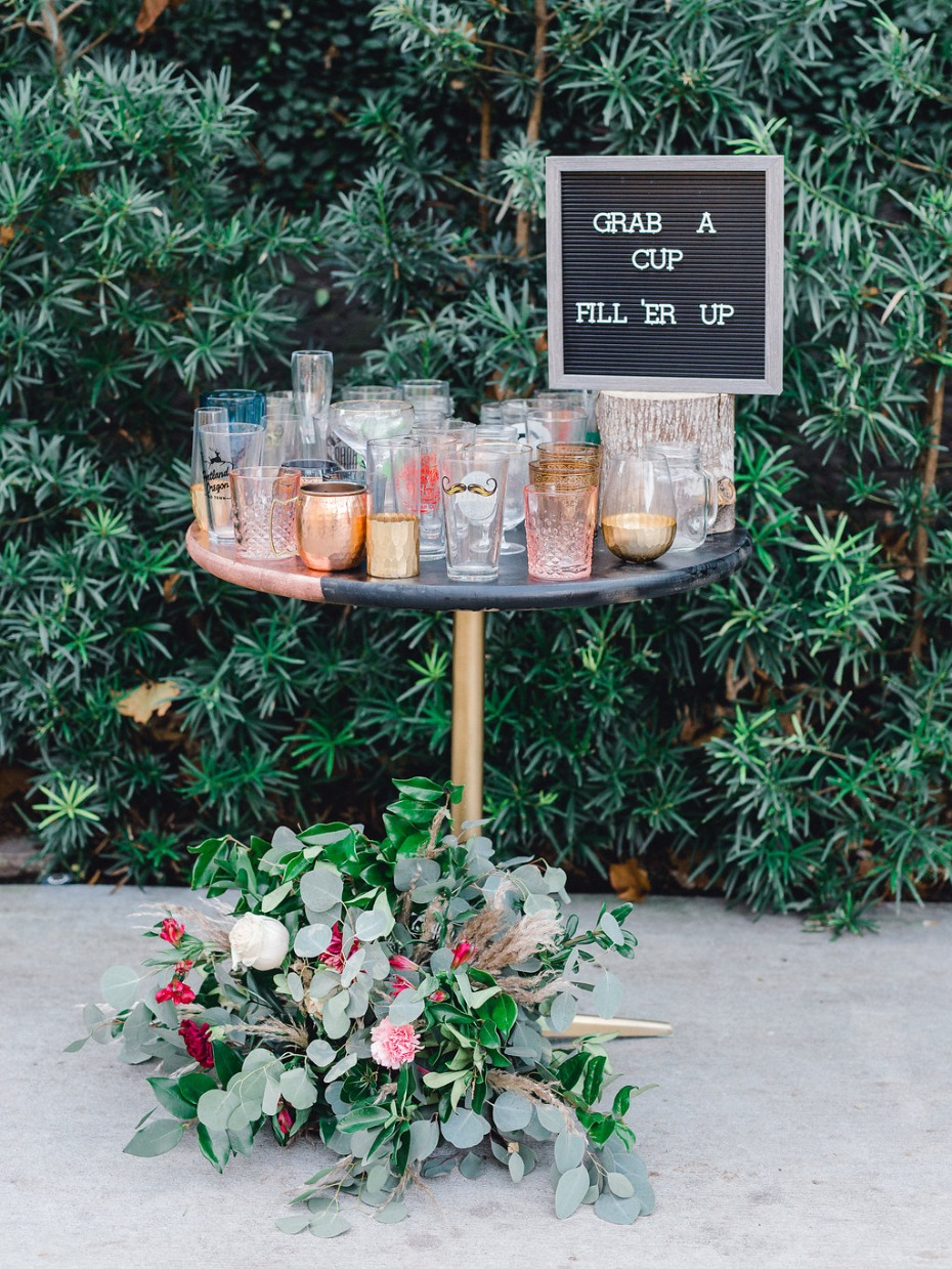 Grab a cup and fill 'er up station for a wedding