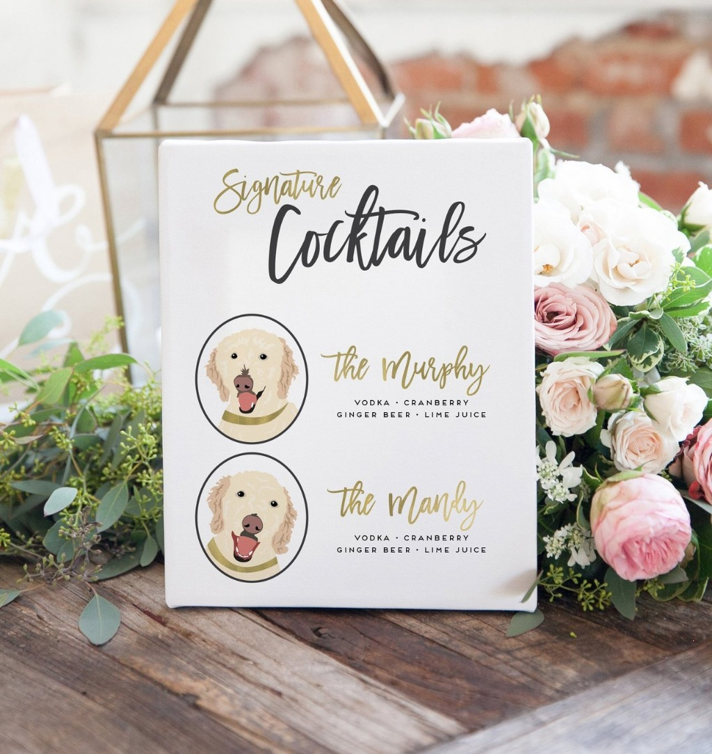Who doesn't want an adorable Signature Cocktail Sign featuring your perfect pets?? This customizable sign from Miss Design Berry features
