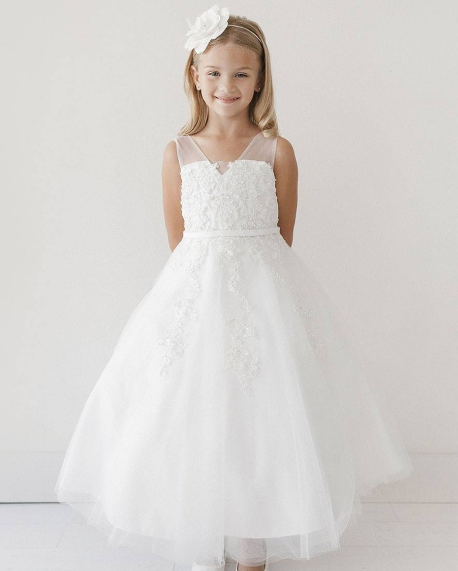 Pink Princess Illusion V Neck and Pearl Flower Girl Dress