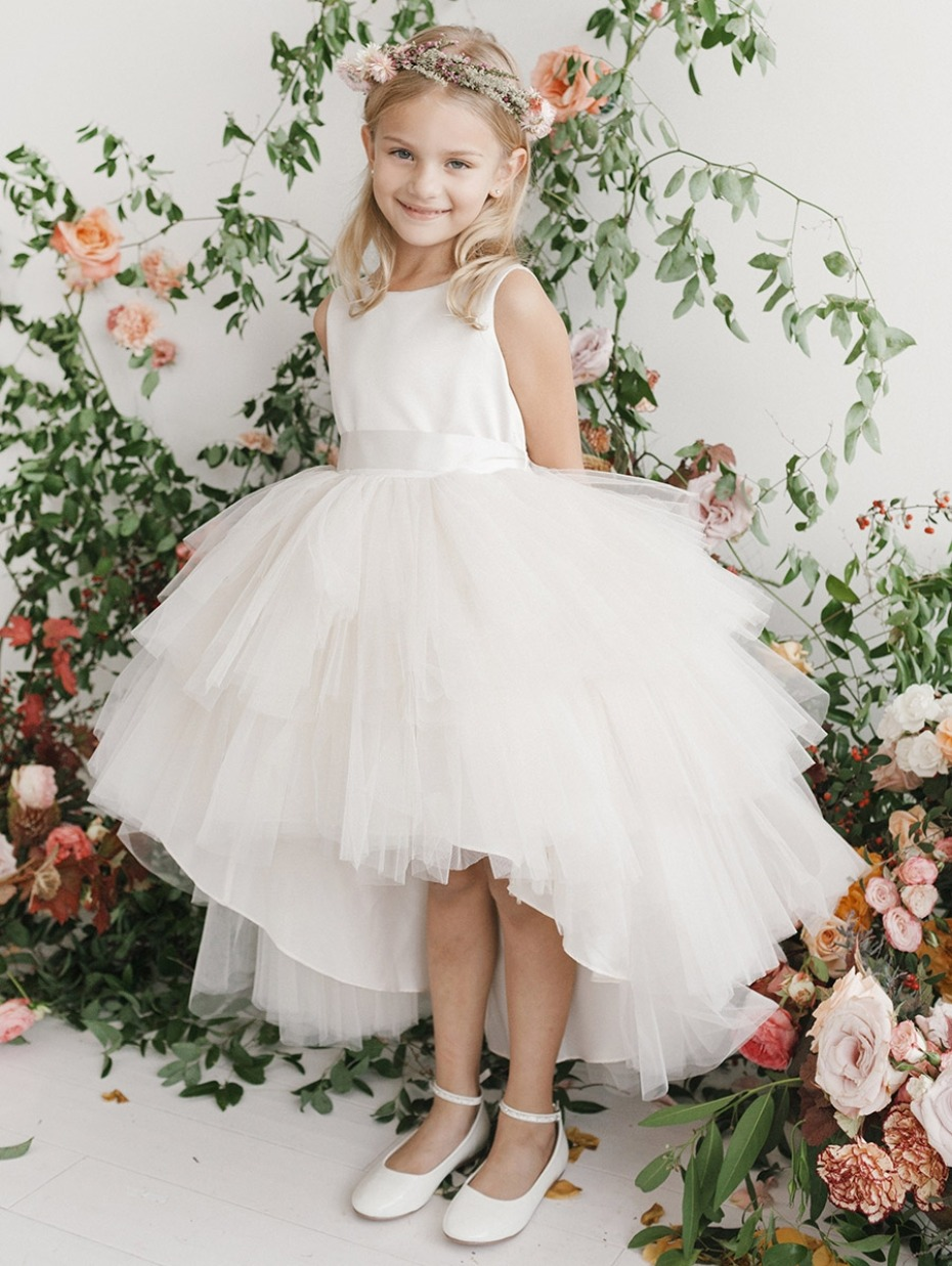 Pink Princess ivory-ruffled-tulle-high-low-dress
