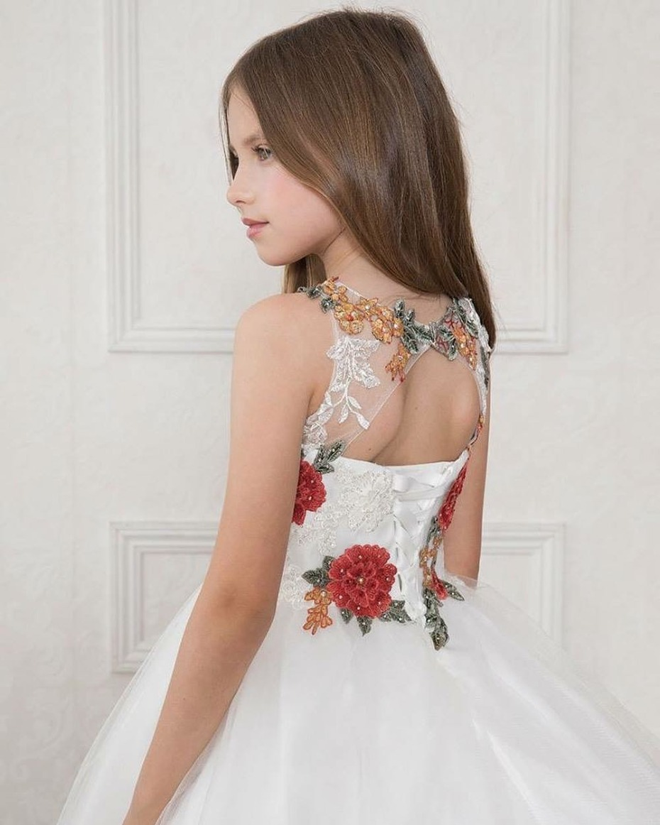 Pink Princess Corset Floral Embroidery Patch Dress