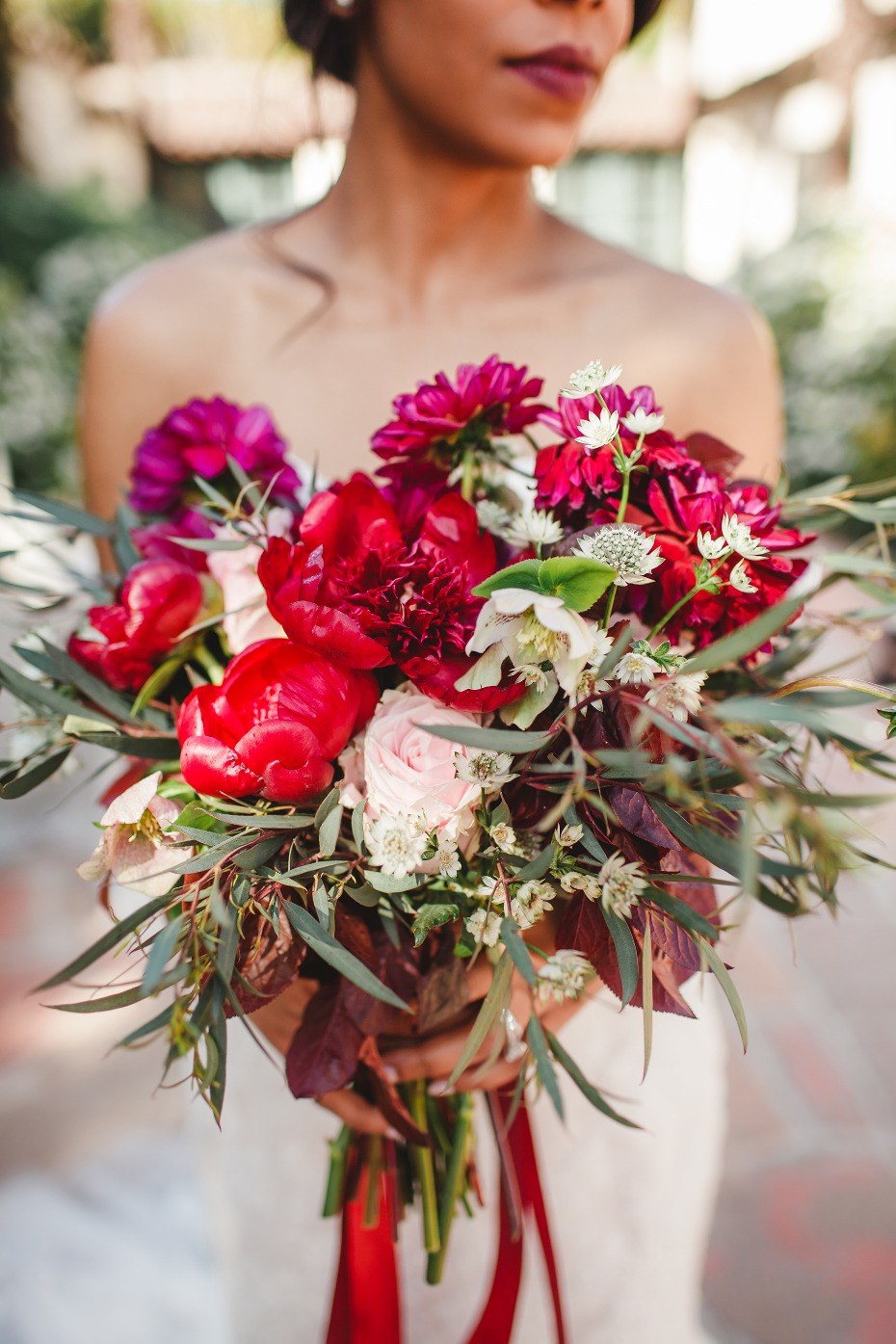 Stunning red and blush bouquet