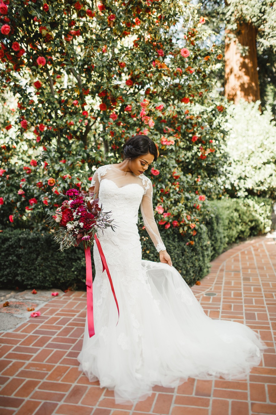 wedding gown with a long sleeve top
