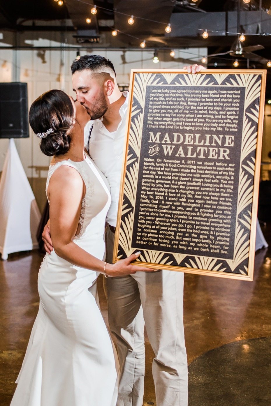 wedding vows with an art deco design