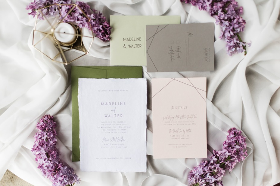 wedding invitation suite with a subtle modern vibe