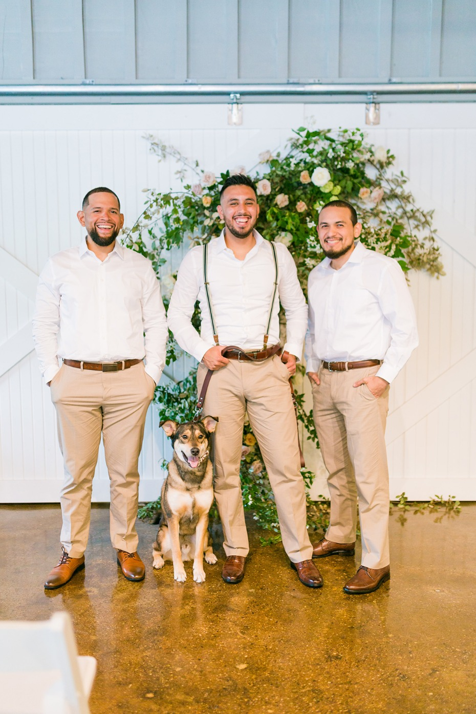 groom and his men in white and tan