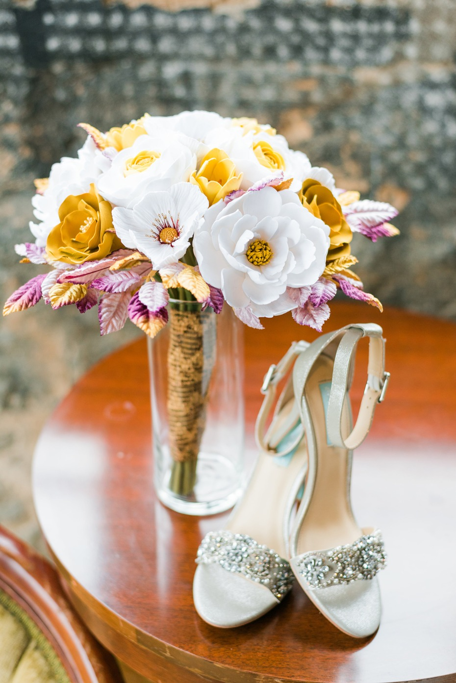 wedding bouquet and wedding shoes