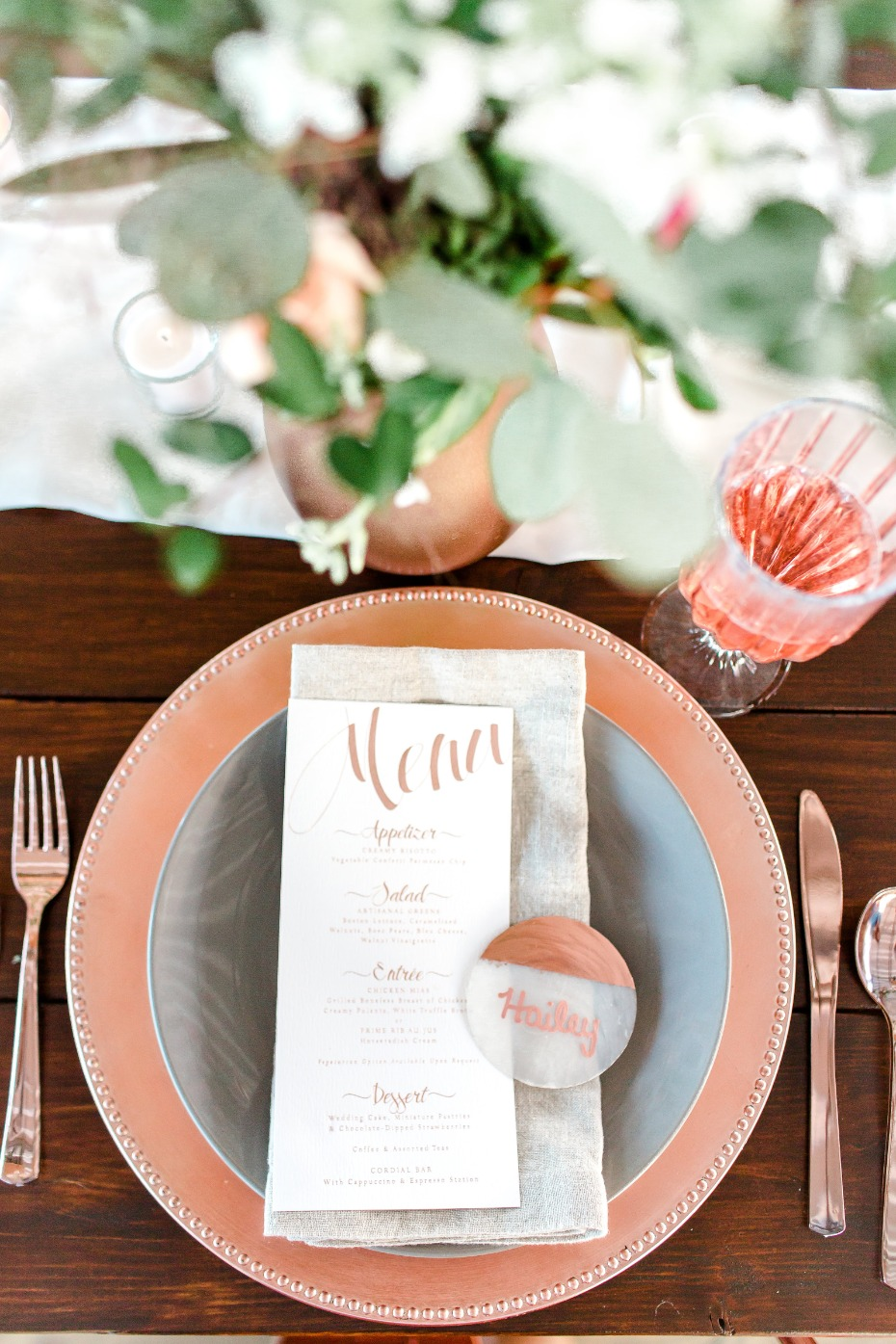 Rose gold place setting for a wedding