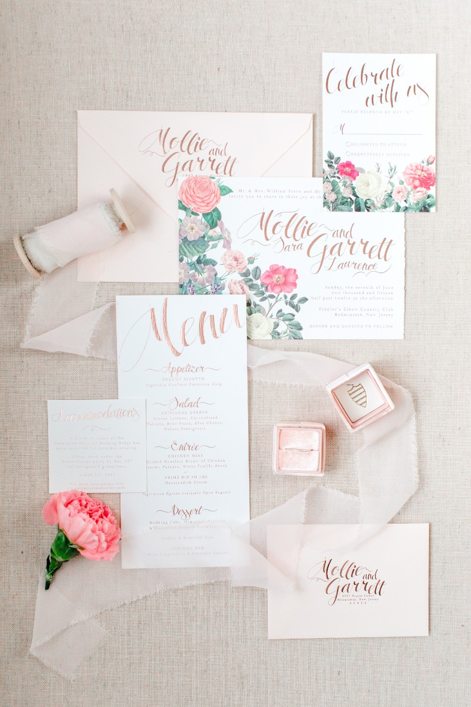 gold and floral invitation suite