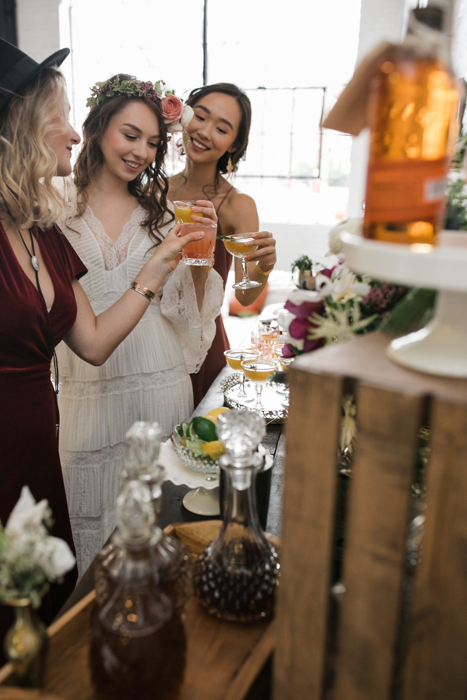 Build your own bourbon bar bridal shower