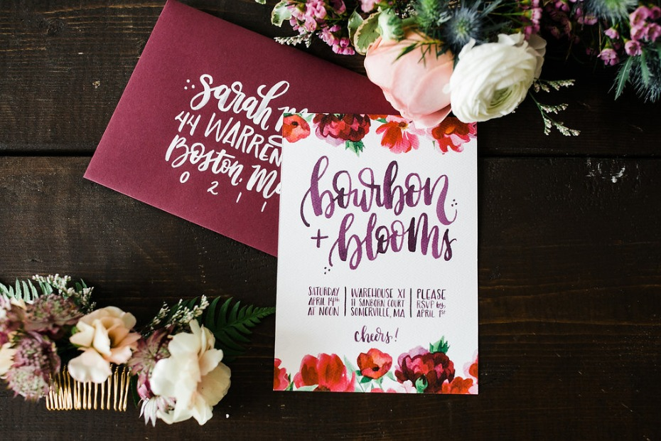 Bourbon and blooms themed bridal shower invite