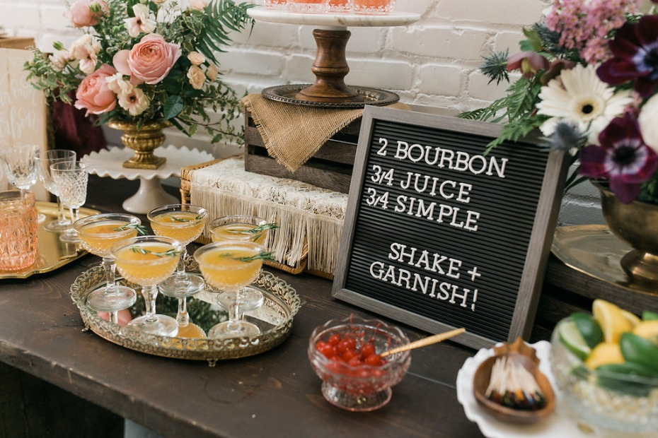 DIY Bourbon bar for a bridal shower
