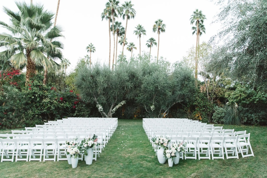 Outdoor wedding ceremony in Palm Springs