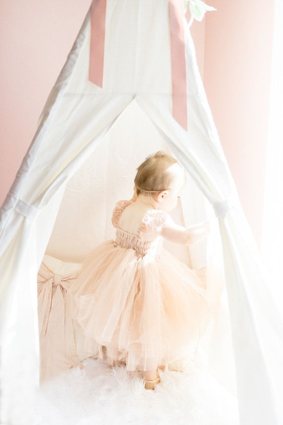 Soft tulle and French Lace Flower Girl Dress