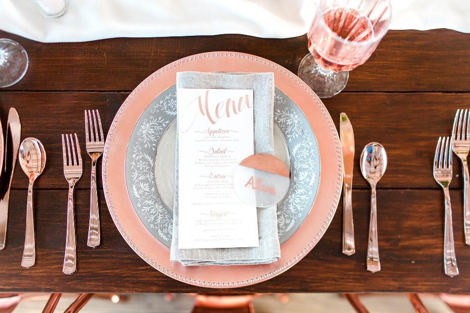 rose gold and grey place setting