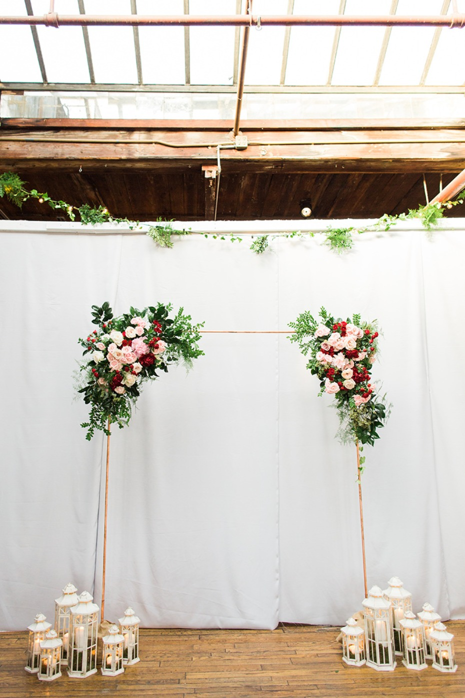 industrial vintage chic wedding backdrop