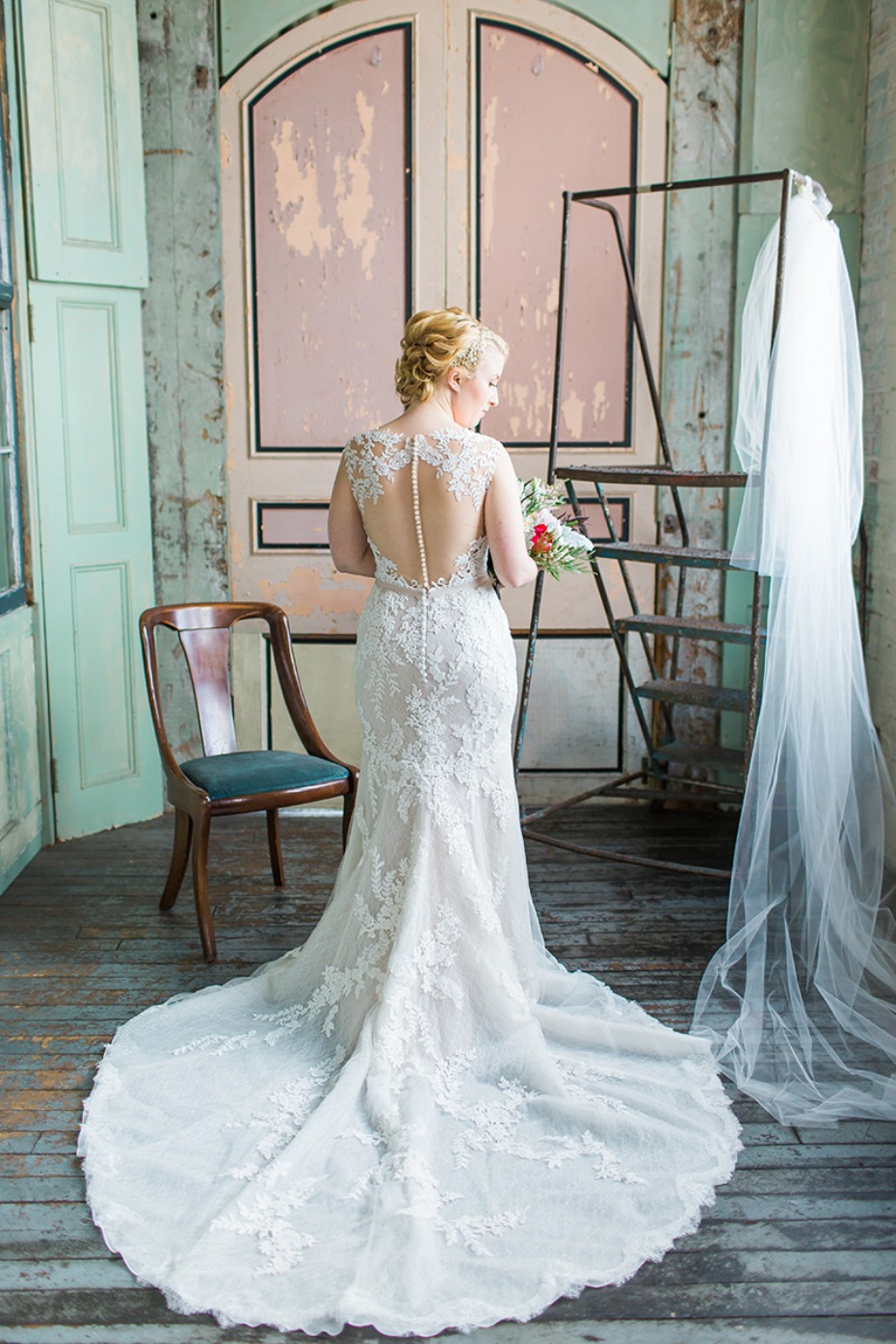 glamorous bride in Pronovias gown