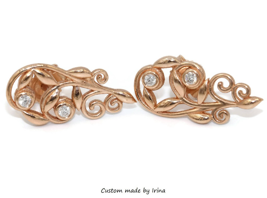Fall in love with these Rustic rose gold diamond earrings!