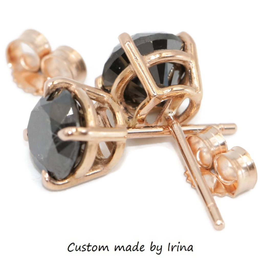 Rose gold boho stud earrings with breathtaking natural Black Diamonds.