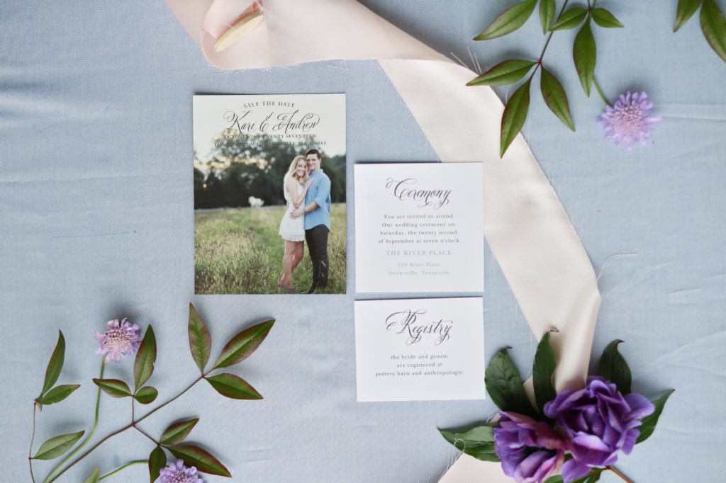 Photo save the dates are a great way to utilize your engagement photos! Love pairing a photo design with simple calligraphy enclosure