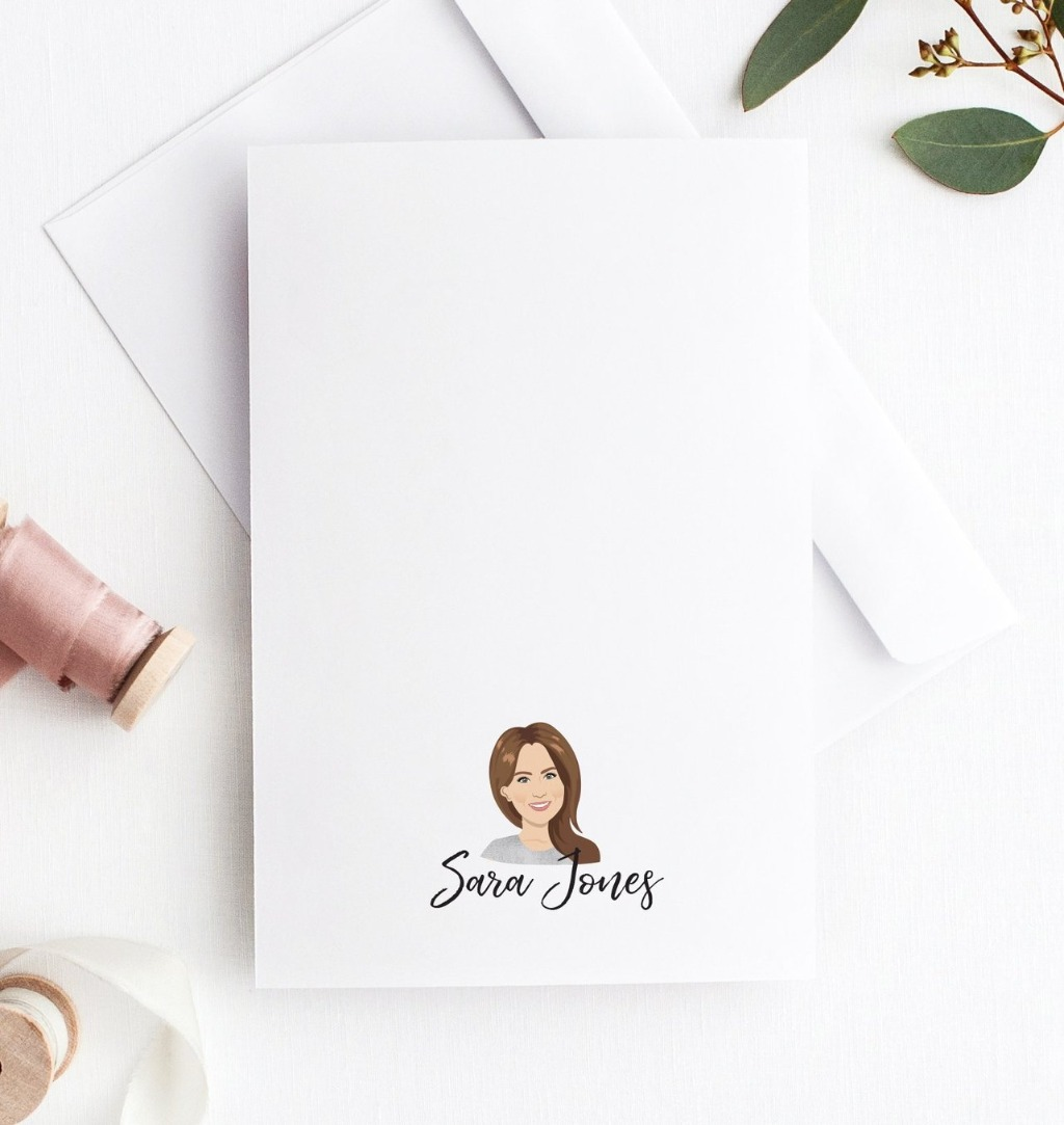 Let's chat about bridesmaid gifts!! We LOVE super fun bridesmaid gift ideas, and these Personalized Stationery Portrait Notecards are