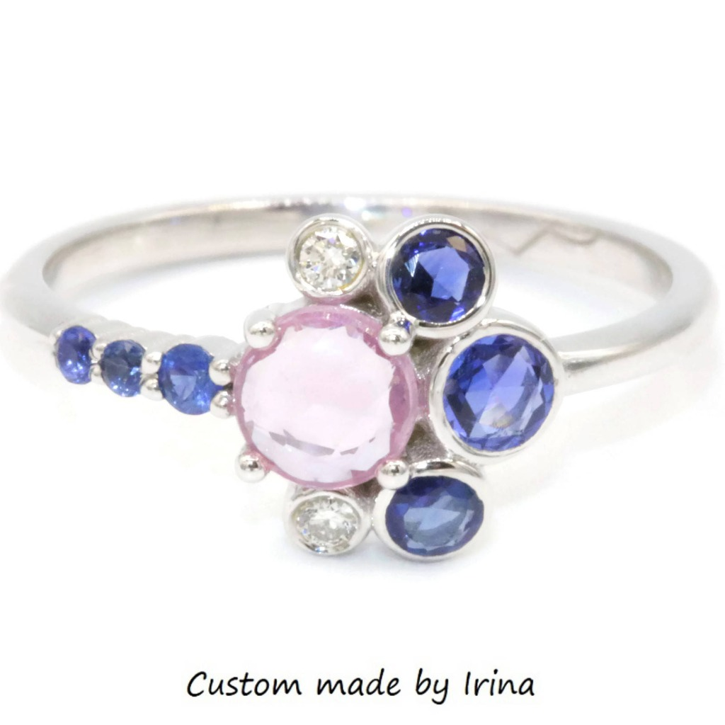 Colorful natural sapphires and diamonds make this the best summer ring that will bring shine and happiness in your life.