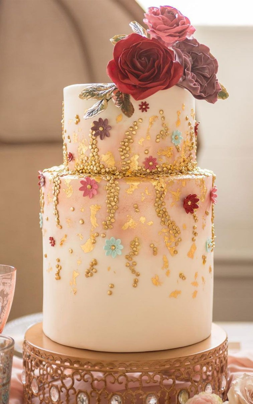 Moroccan Jeweled Wedding Cake Stand created by Opulent Treasures with Jeweled Wedding Cake by The Cake Flower