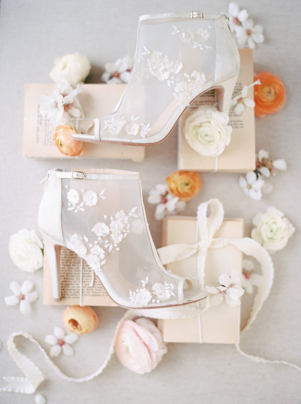 Our Belle Wedding Bootie looks so pretty with the Spring colors of fresh blooms. Unconventional, feminine, unique, romantic and comfortable