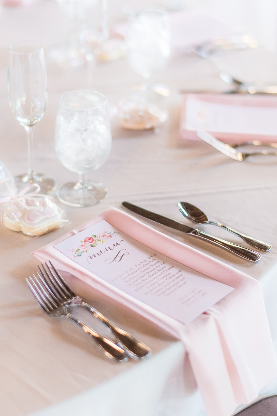 soft pink wedding place setting