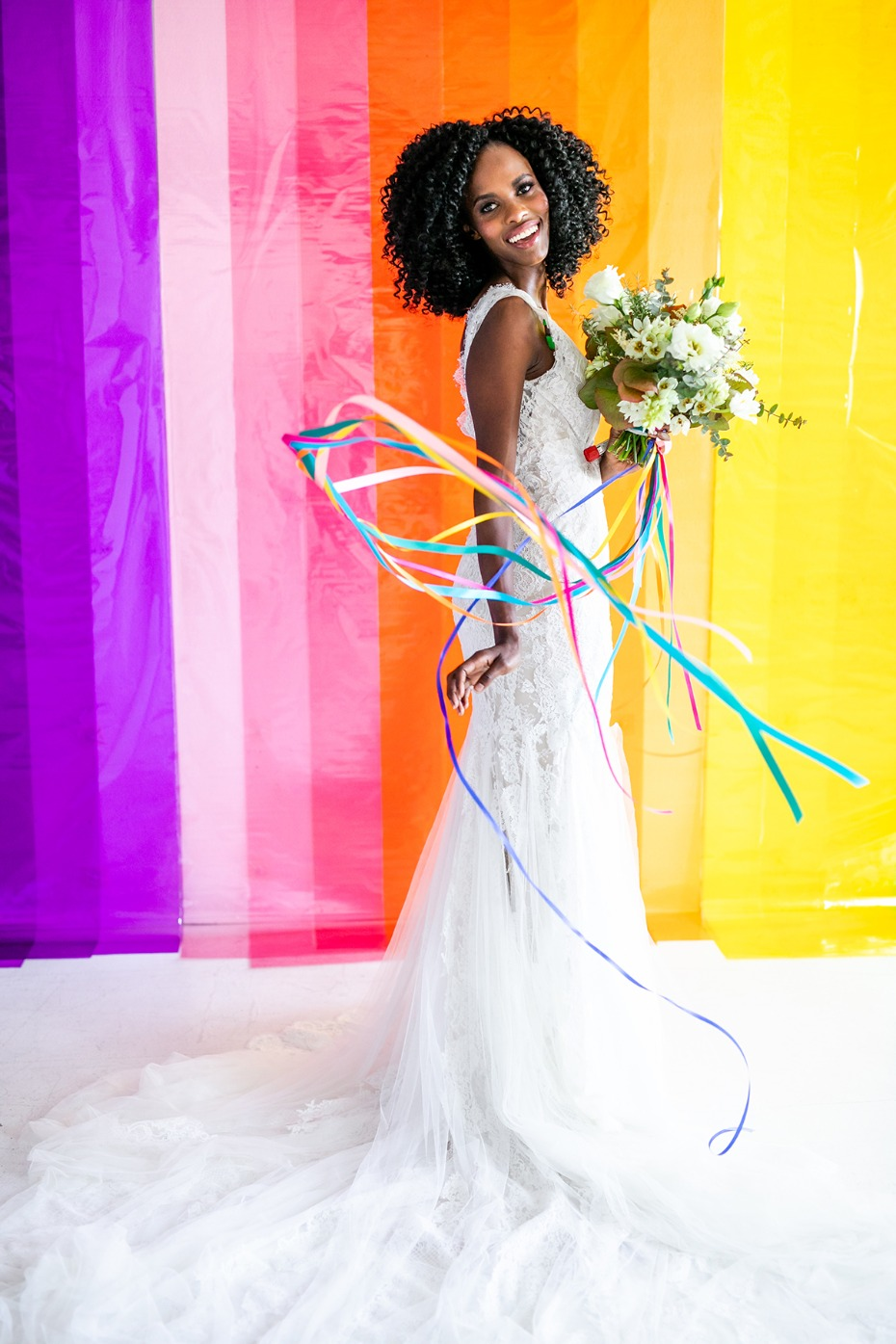 rainbow ribbons for your wedding bouquet