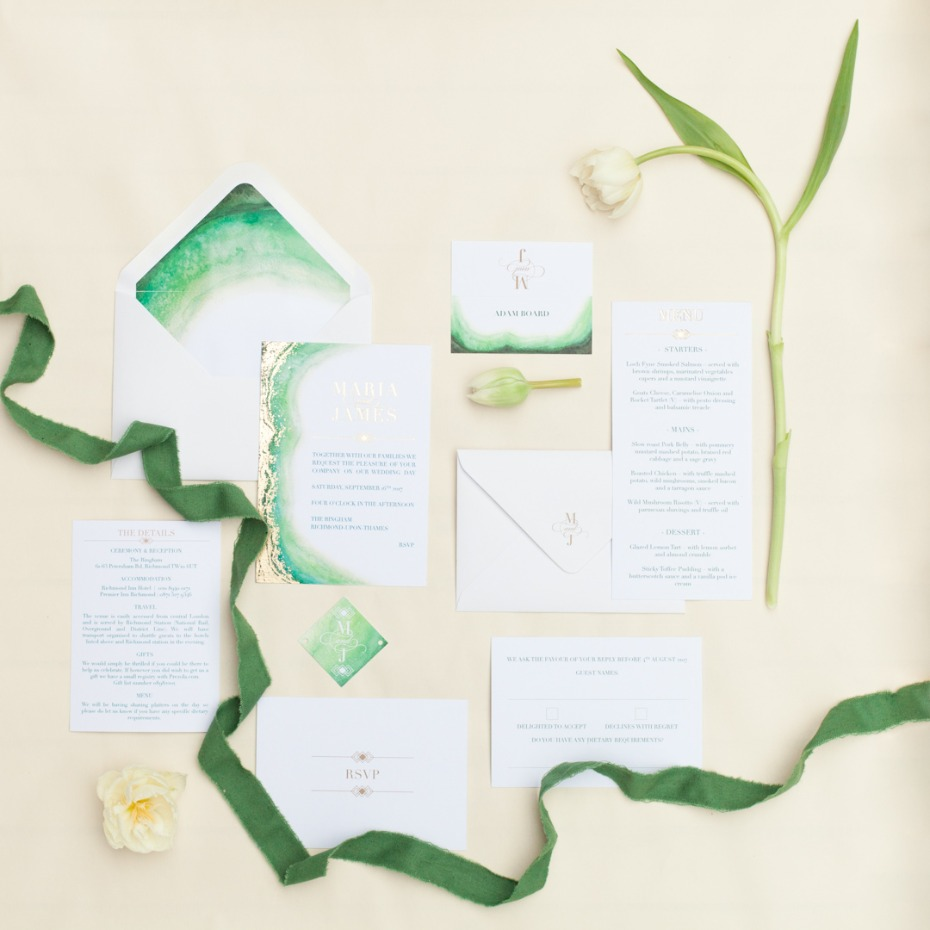 Green and gold invitation suite