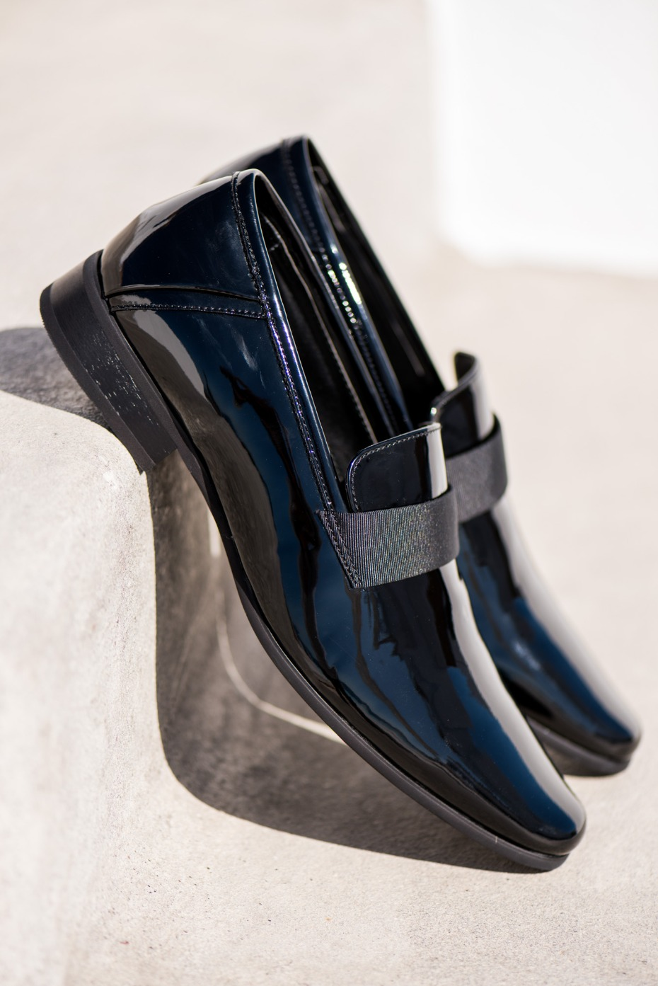 black patent leather shoes from the groom