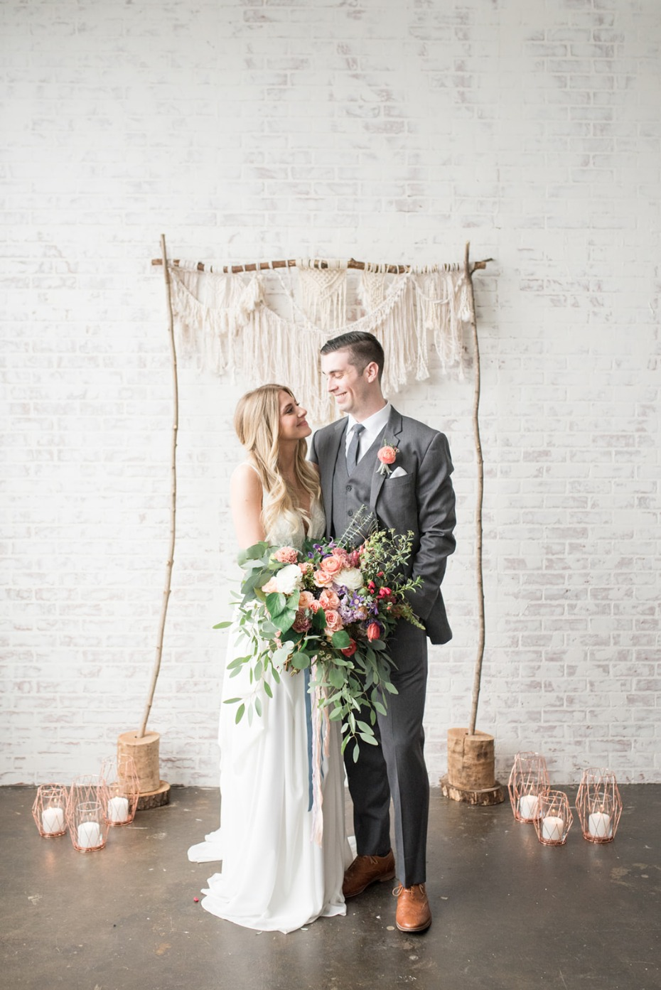Modern bohemian ceremony backdrop