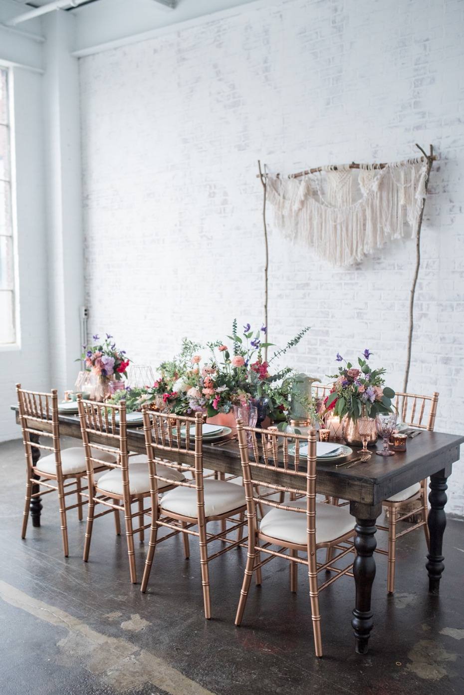 Bohemian inspired wedding table decor