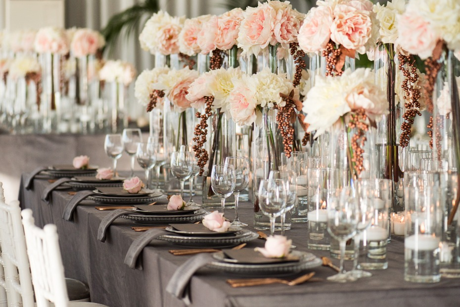 glam wedding reception in gray, blush and rose gold