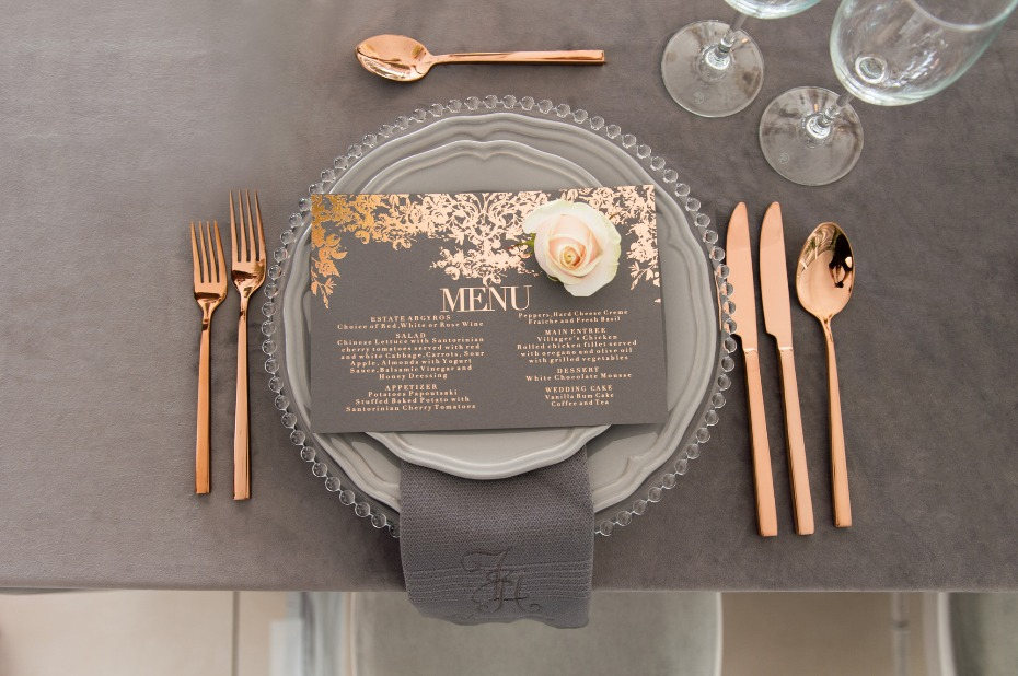 gray and rose gold wedding decor