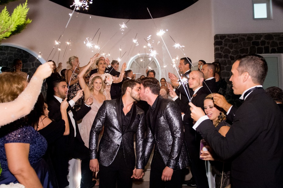 leaving the wedding reception with a sparkler exit