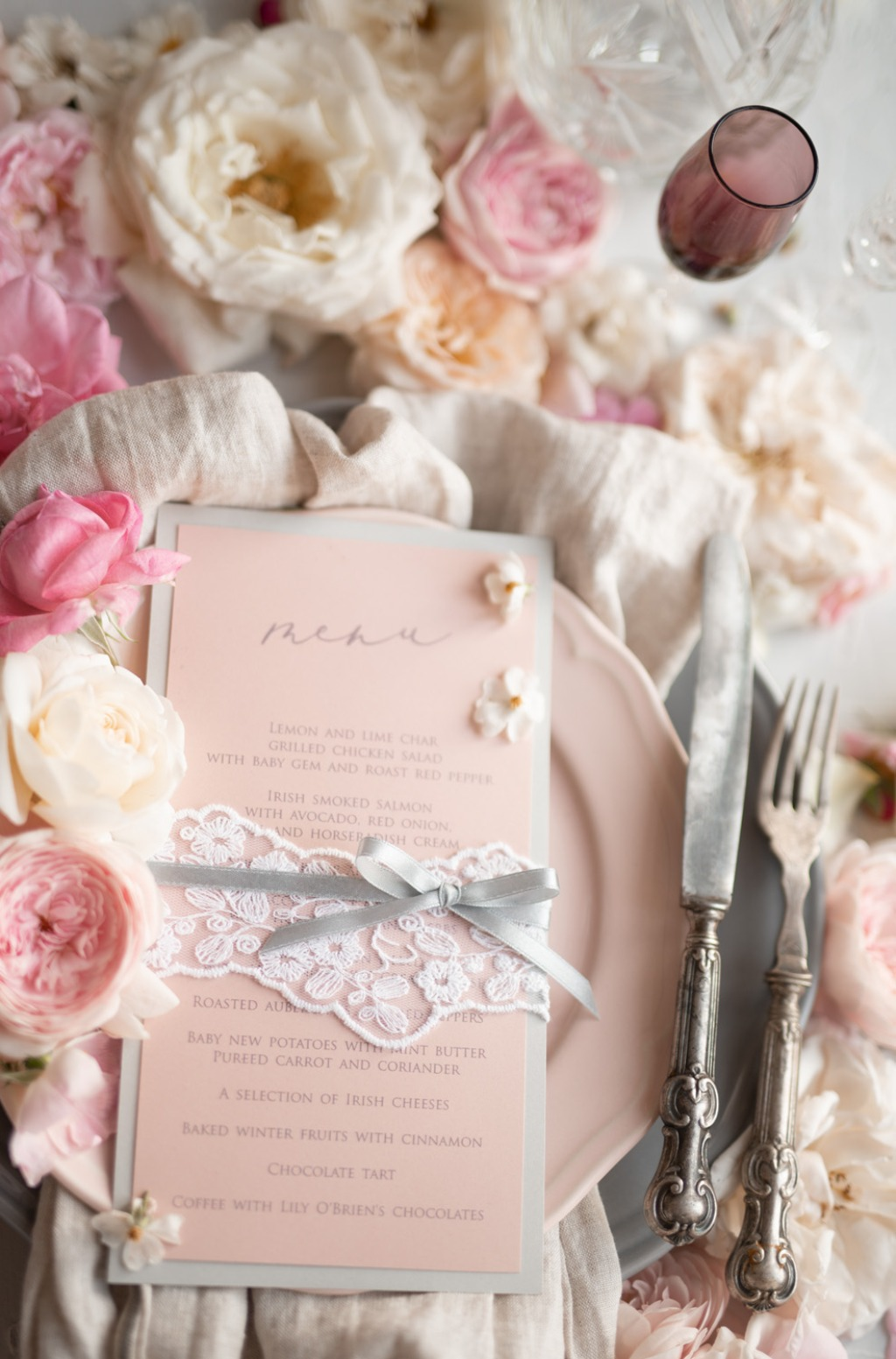 menu with lace
