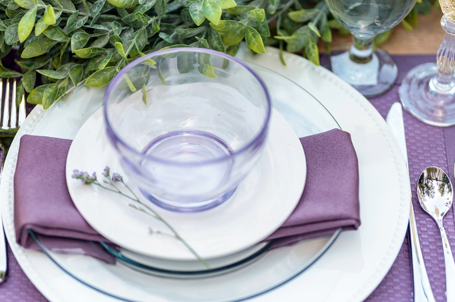 purple and white place setting