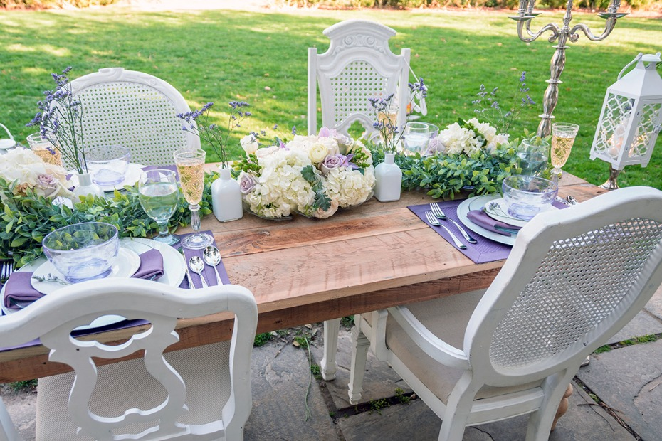 white and purple garden wedding table idea