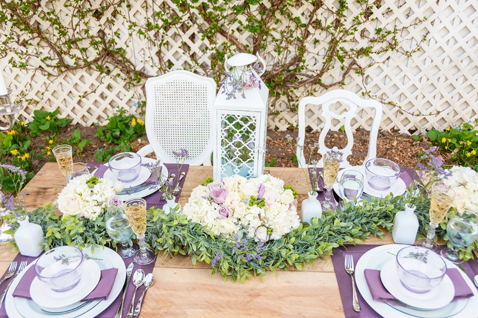 romantic white and purple garden wedding table decor